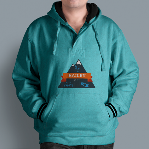 Bailey logo with mountain design, hiking shoes, bicycle and kayak