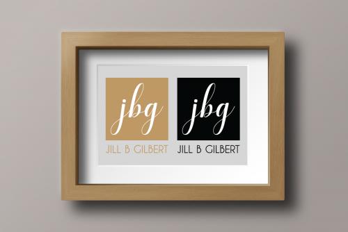 Original script logo with lowercase script jbg and art deco lettering for Jill B Gilbert, graphic and web designer