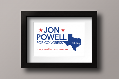 Updated logo for Jon Powell for Congress campaign in cobalt blue and red