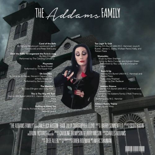 Vinyl album cover for The Addams Family Motion Picture Soundtrack, back