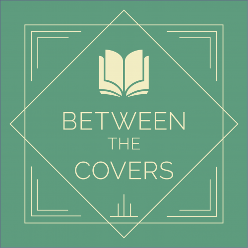 Original brand for Between the Covers book club with open book icon and thin Art Deco-style embellishments