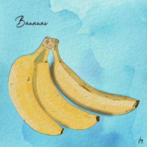 Digital drawing of a bunch of three bananas against a blue background