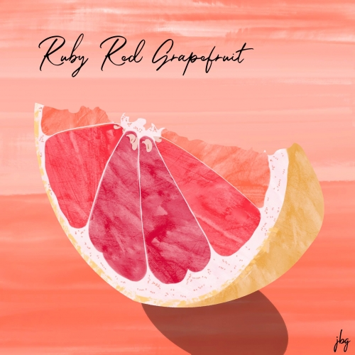 Digital watercolor drawing of a wedge of Ruby Red Grapefruit against a reddish-orange background