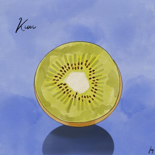 Cross-section view of a Kiwi fruit against a vivid blue background