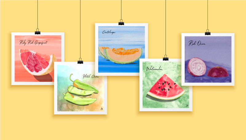 Selected watercolor drawings from the Food for Thought series by Jill B Gilbert. Ruby Red Grapefruit, Hatch Chilis, Cantaloupe, Watermelon, and Red Onion.