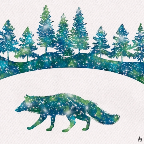 Fox and trees silhouettes with Aurora Borealis color scheme and stars