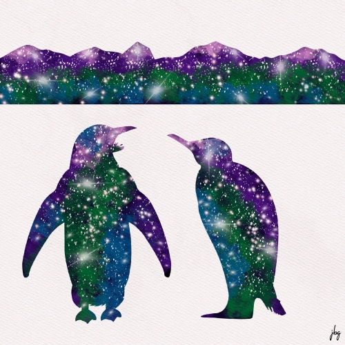 Penguins and mountains silhouettes with Aurora Borealis color scheme and stars