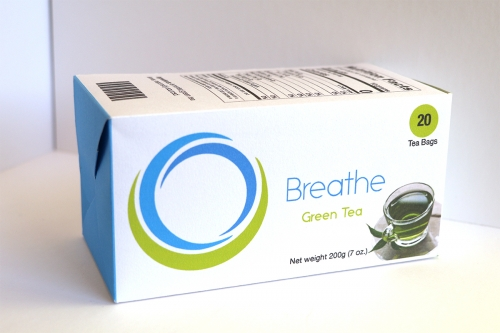 Breathe Green Tea Box with brand, graphics and nutrition information