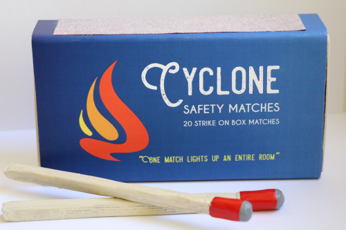 Package Design for Cyclone Safety Matches, oversized matchbox with clay matches