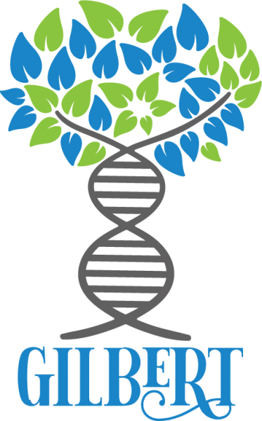Family Tree DNA logo with blue and green leaves, gray DNA helix, and the name Gilbert below the tree