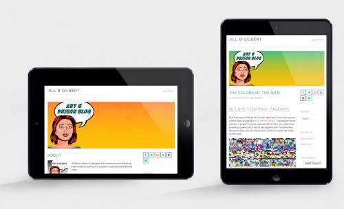 Tablet view of responsive art & design blog by Jill B Gilbert