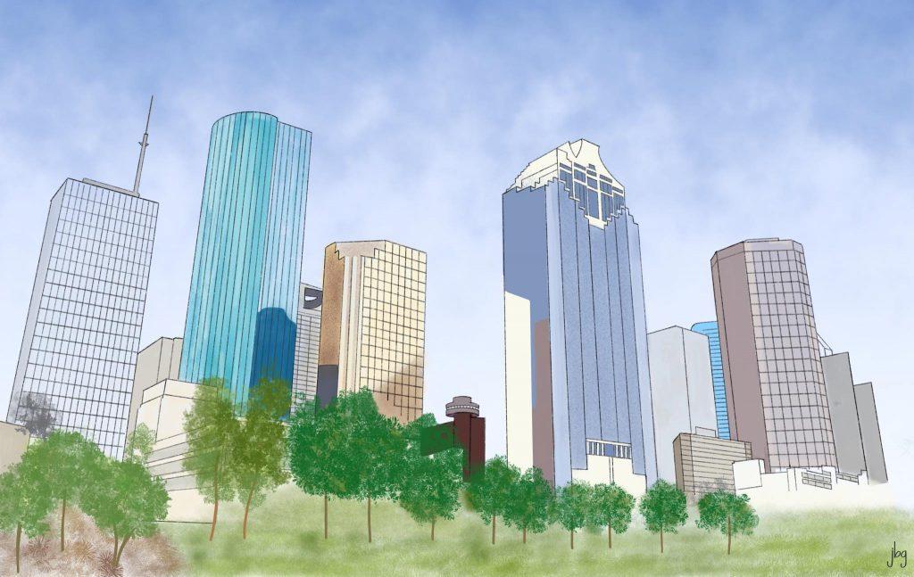 Houston skyline watercolor drawing by Jill B Gilbert