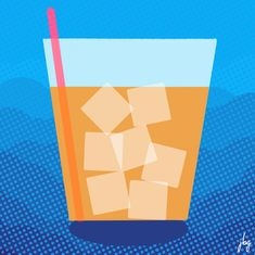 Digital drawing of a glass of iced tea against a dotted blue gradient background