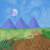 Digital watercolor landscape in blues and greens