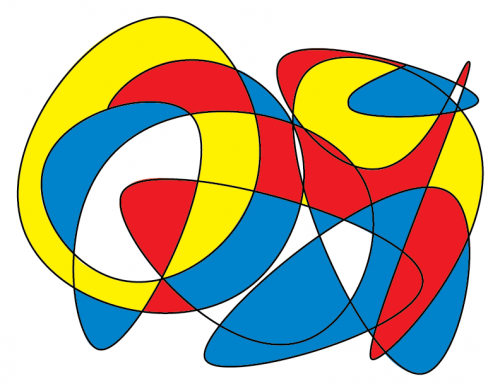 Line with no end in primary colors with black line