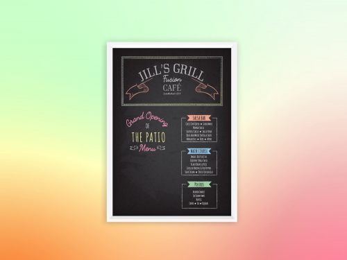 Chalkboard menu for Grand Opening of the Patio at Jill's Grill using bright colors