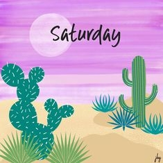Abstract digital desert scene with cacti and a purple sky with title Saturday