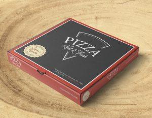 Pizza box with Simon's Bistro branding and pizza slice graphic