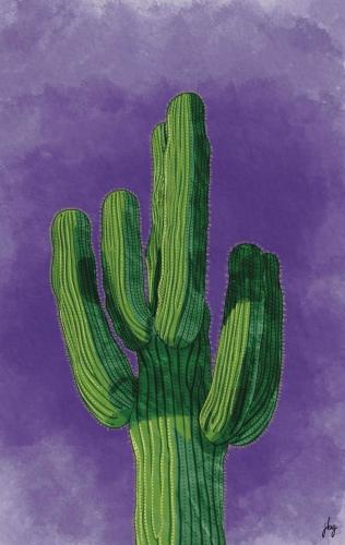 Digital watercolor drawing of a green Saguaro cactus against a brilliant purple sky
