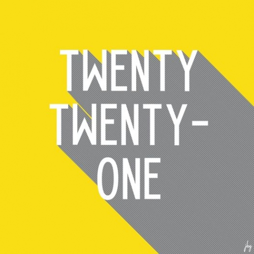 Twenty Twenty-One in tall white letters with gray shadows on a yellow background, using Pantone Colors of the Year for 2021